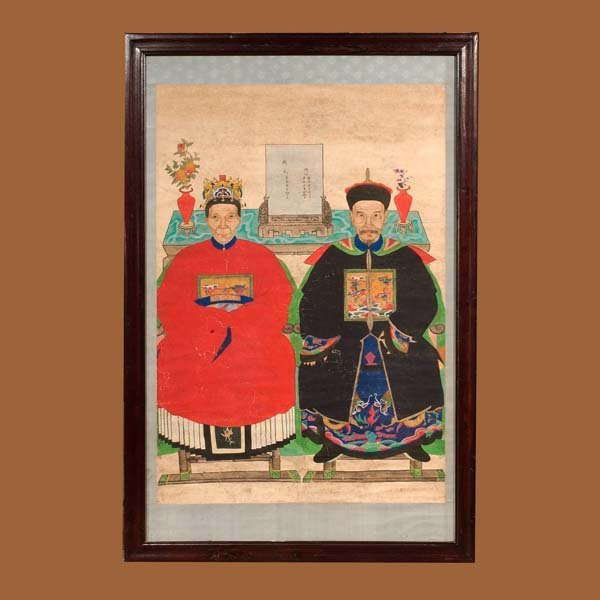 164: Mandarin ancestor scroll painting of a king and qu