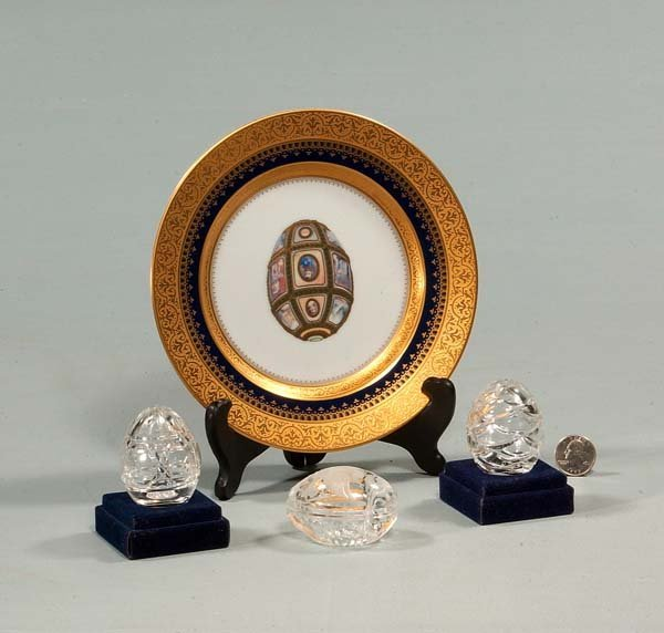 "426: 8"" Faberge porcelain plate and stand and three cut"