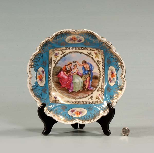 432: Austrian porcelain bowl with garden scene and figu