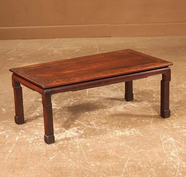 433: Chinese rose wood coffee table on straight legs, 3