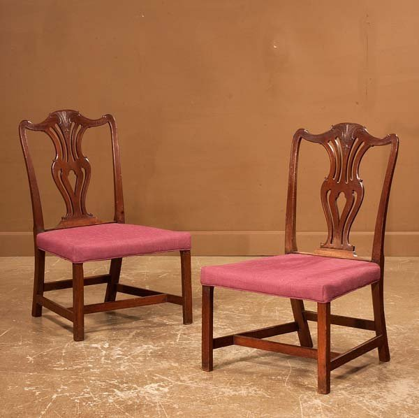 441: Pair of Chippendale mahogany straight leg side cha