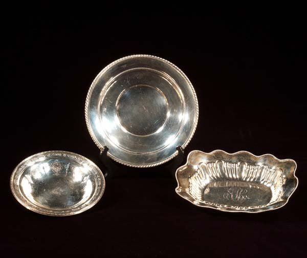 "442: Sterling silver oblong bowl, a 9-1/2"" sterling sil"
