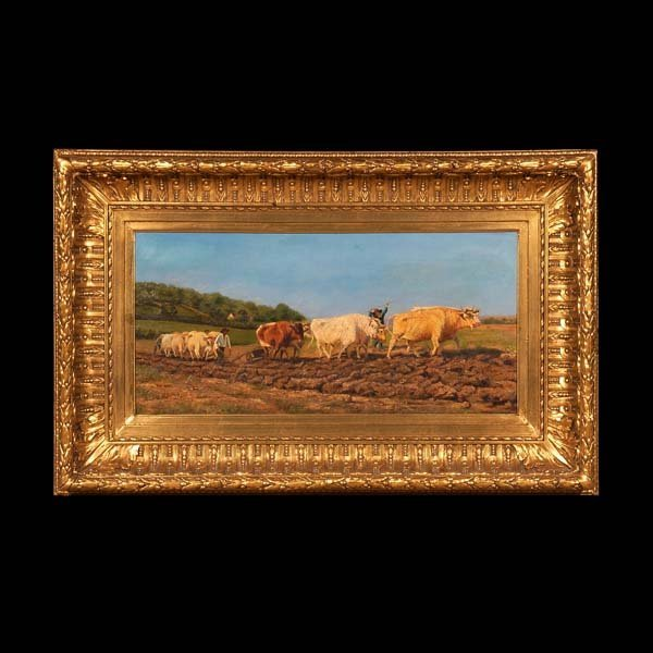 529: 19th century oil painting on canvas, farm scene wi