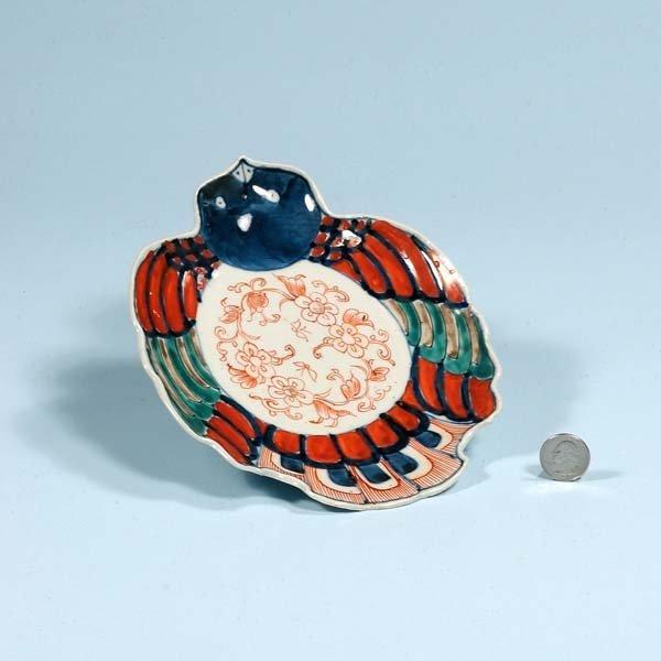 1: Small Imari bird shaped dish with blue, green and bi