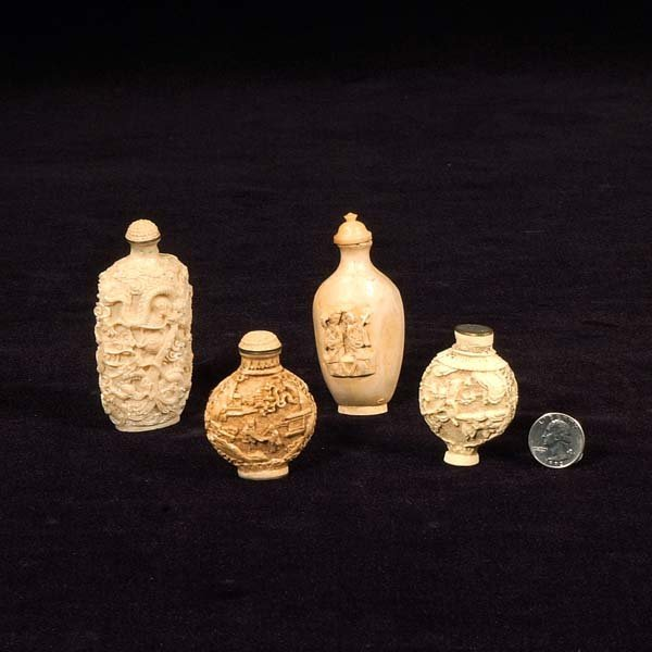 2: Group of four oriental bottles with scenic and figur