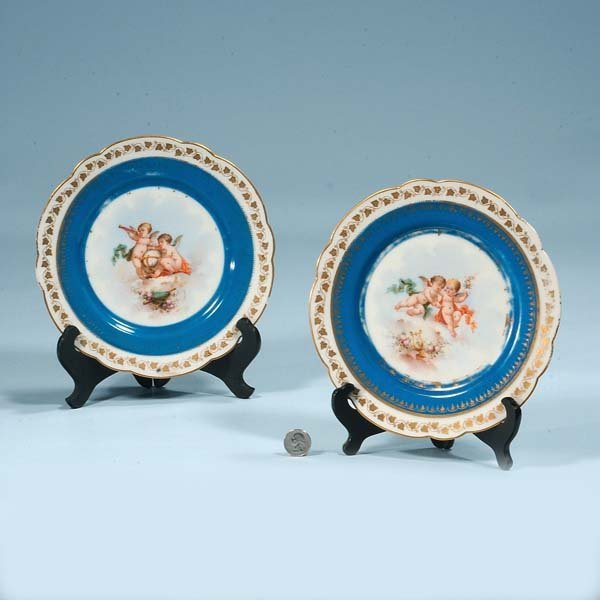 3: Two blue and white Sevres porcelain plates with cher
