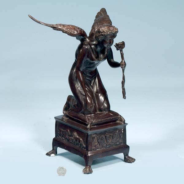 """4: Winged bronze figure of a woman holding a torch,  8"""""""
