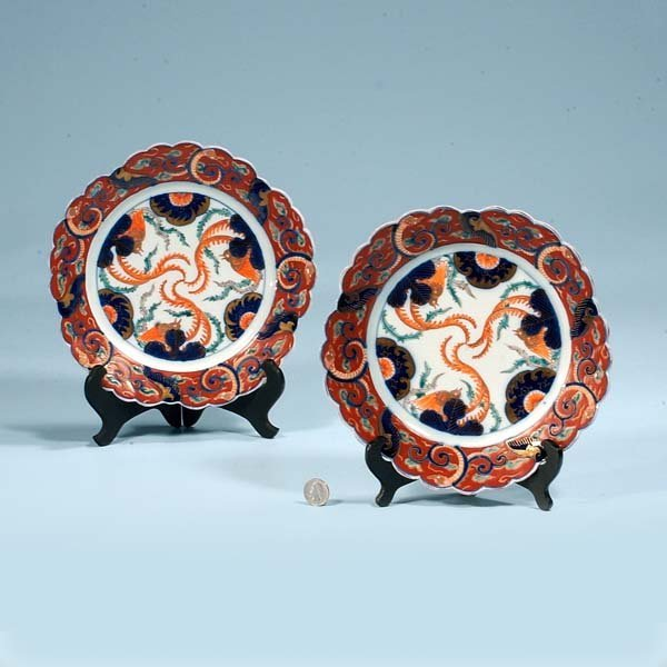 6: Pair of Imari porcelain plates with cobalt blue and