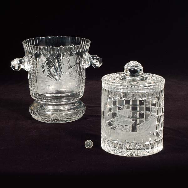 """7: Large cut crystal ice bucket, signed """"Guntor,"""" 12"""" w"""