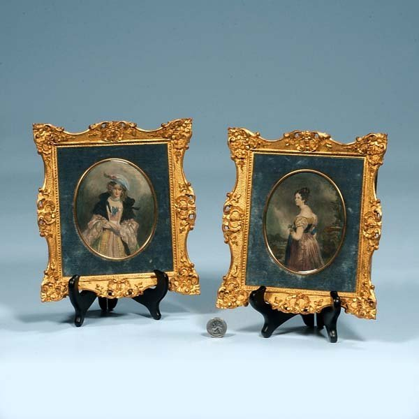 8: Pair of oval miniature engravings of women in gold g