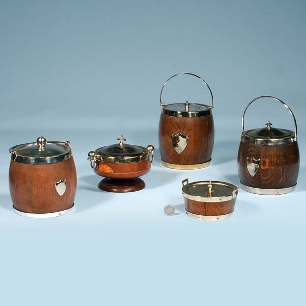 10: Group of five English wooden biscuit barrels, c.190
