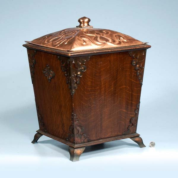 13: Scottish wooden coal hod with dome copper lid, c.18
