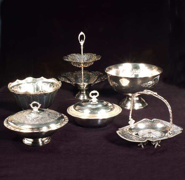 """14: 12"""" silver plated compote, two tier serving dish, s"""
