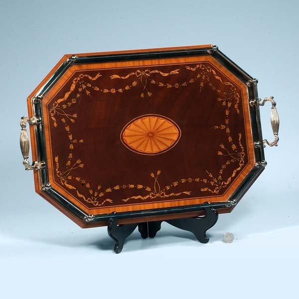 15: Inlaid Sheraton mahogany tray with silver plated ga