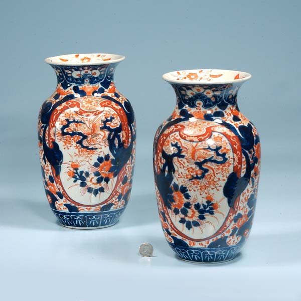 19: Pair of Imari porcelain vases with cobalt blue and