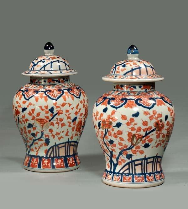 """22: Pair of Imari porcelain dome top ginger jars, 19"""" h"""