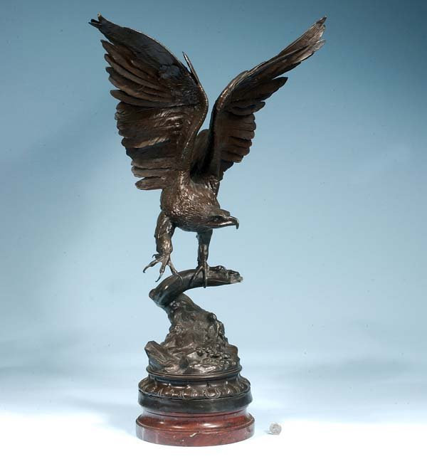 173: Bronze sculpture of an American eagle with outstre