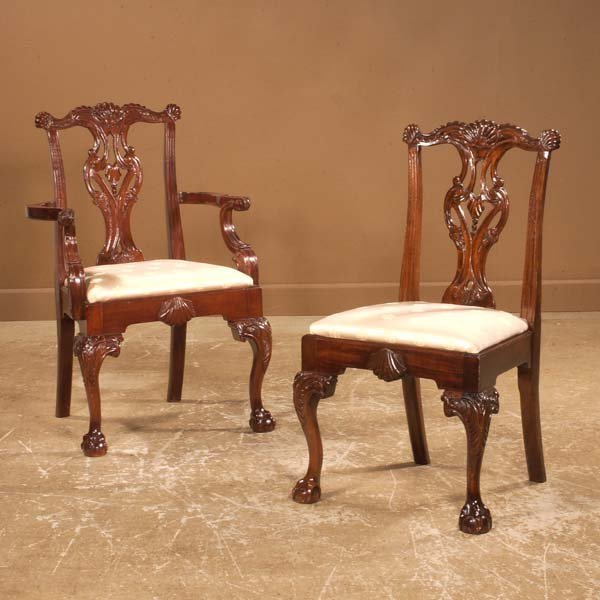 195: Set of 24 Chippendale style mahogany dining chairs