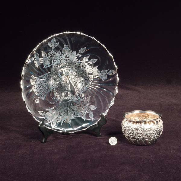 428: Glass footed plate with silver overlay and a small