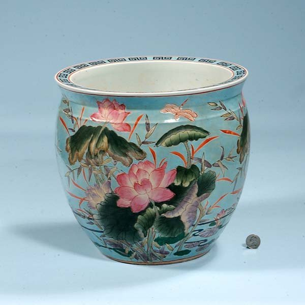 429: Chinese porcelain fish bowl with dragon fly and mu