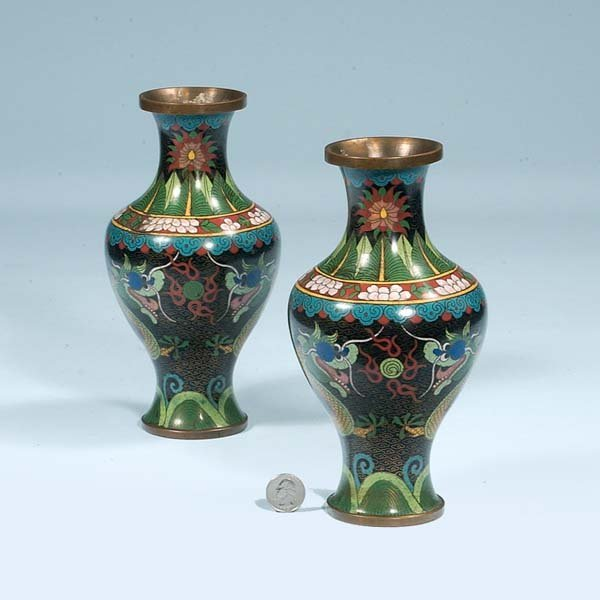 432: Two Chinese cloisonné vases with multicolor enamel