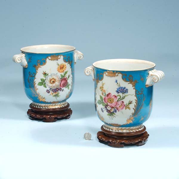 "434: Pair of ""Robin Egg"" blue porcelain cache pots with"