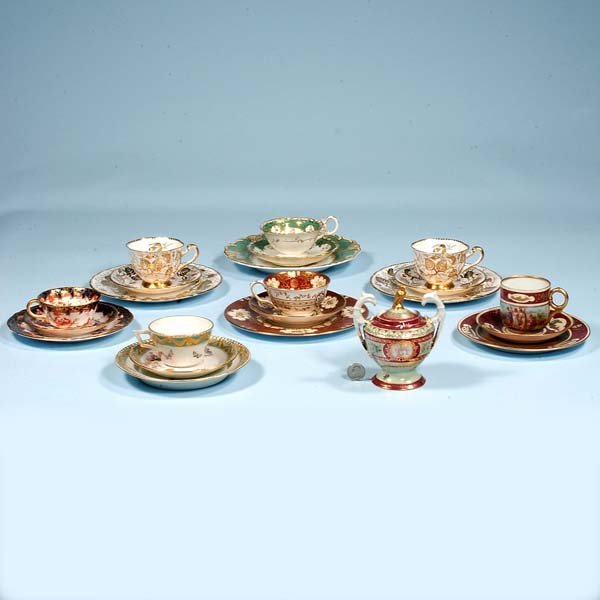 436: Group of seven china cups and saucers, seven cake
