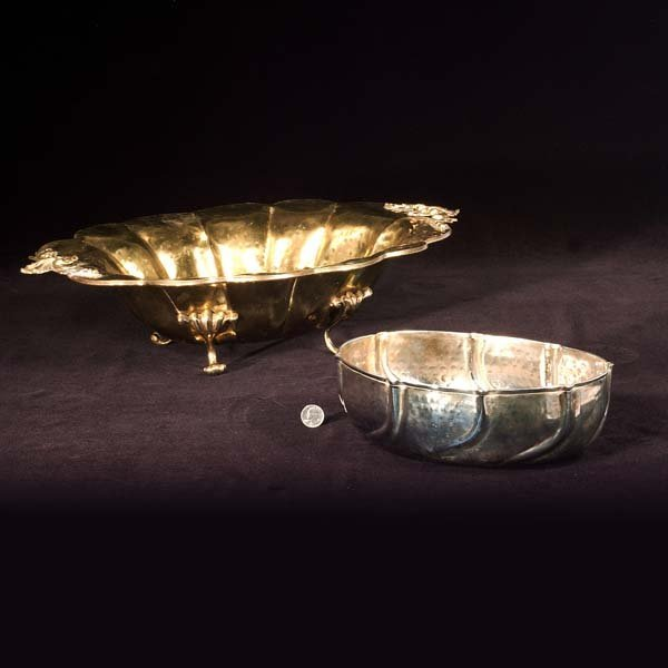 "437: Oval brass footed centerpiece, 22"" wide, 15"" deep,"