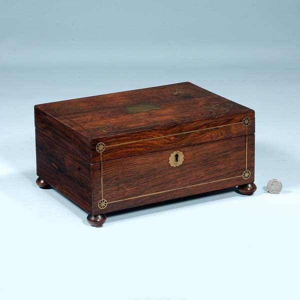 439: English rosewood jewelry box with brass inlay, c.1