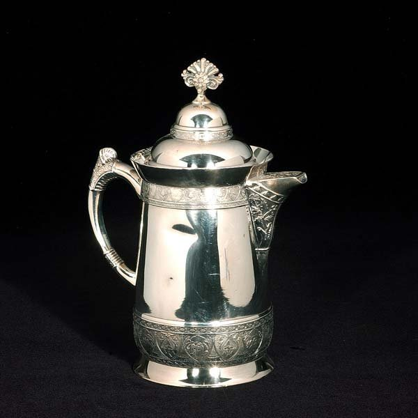"442: Large silver plated pitcher, marked ""Pelton Bros.,"