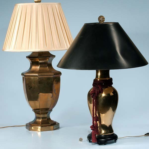 "444: Two brass urn shaped lamps with shades; one-37"" hi"