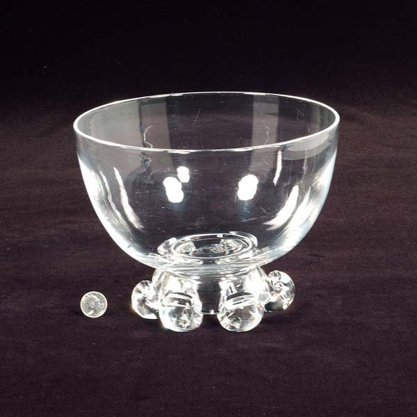 "446: Signed Steuben footed crystal bowl, 9-1/2"" diamete"