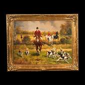 661 Oil painting on canvas English fox hunting scene