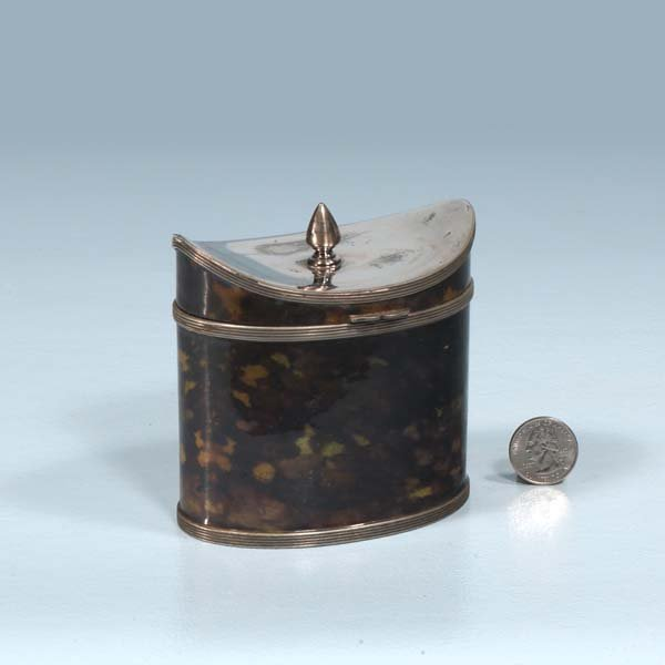 "10: Oval English silver plated tea caddy, 4-1/2"" wide,"