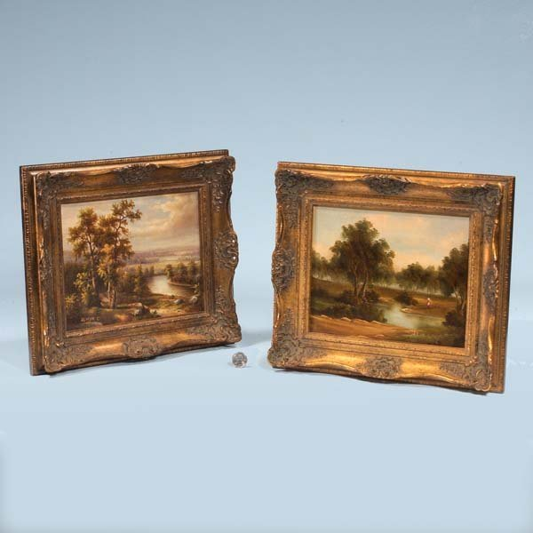 14: Pair of small landscape oil paintings on canvas, on