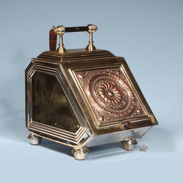 17: English brass and copper coal scuttle with embossed