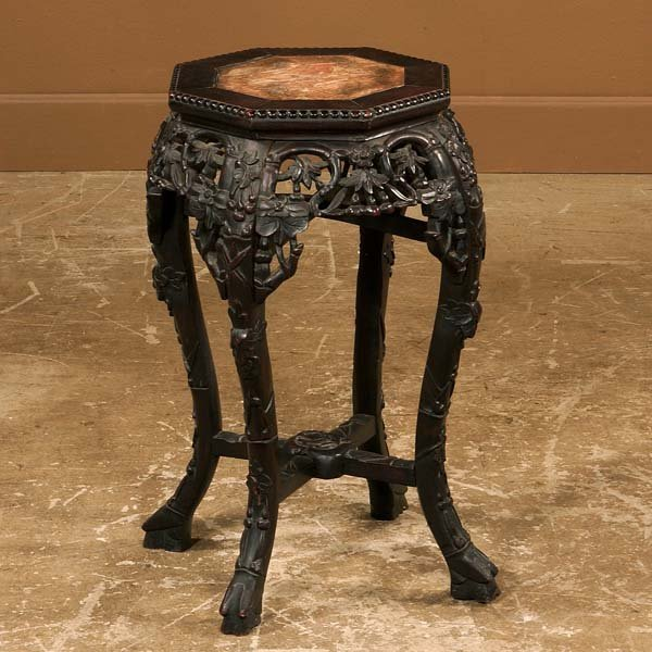 18: Carved Chinese teakwood stand with inset marble top