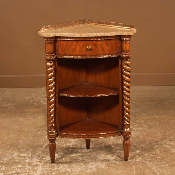 21A: Mahogany corner wash stand with gold gilt barley t