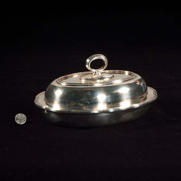 "440: Oval ""Tiffany and Co."" silver plated covered veget"