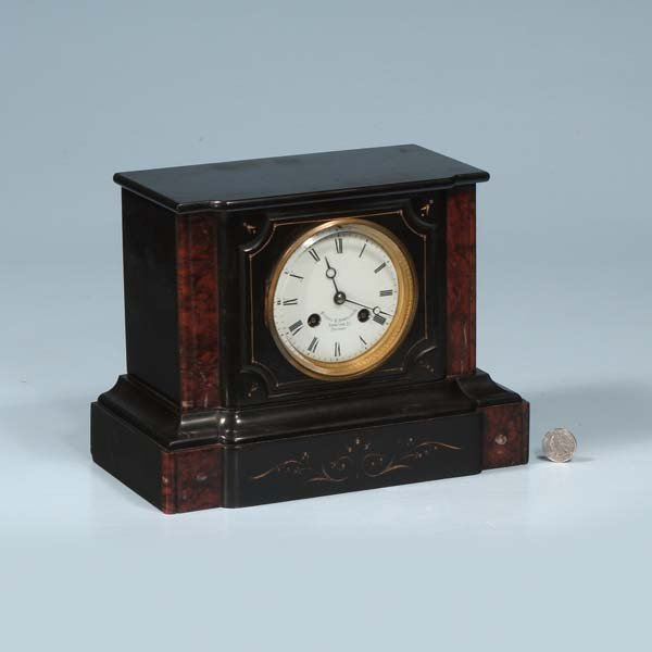 "442: French marble mantle clock made for ""Mitchell and"