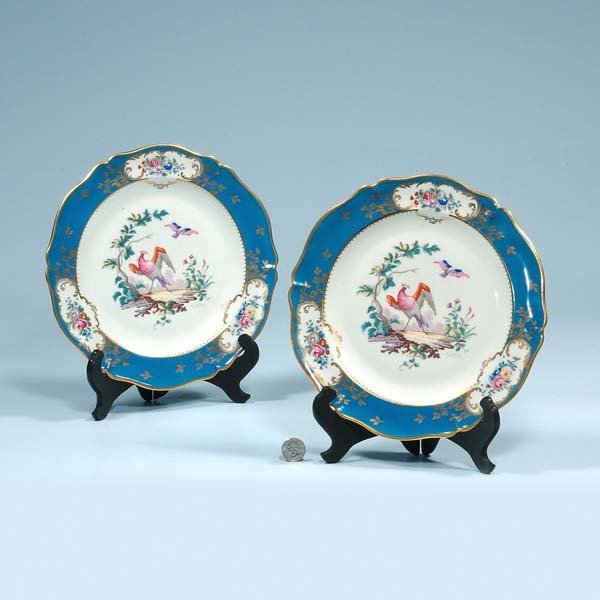 1: Pair of Limoges china plates with bird and floral de