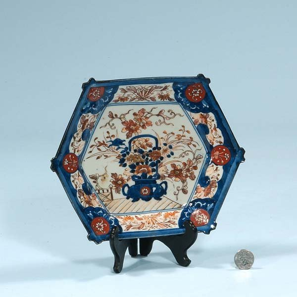 7: Imari porcelain plate with cobalt blue and bitterswe