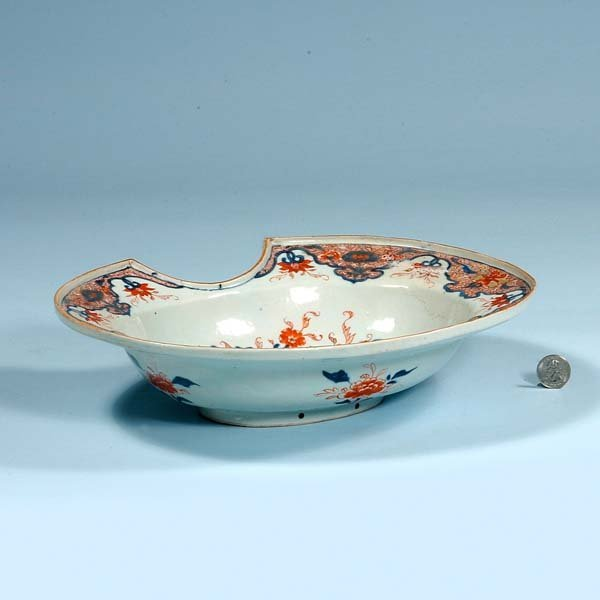 13: Oval Chinese porcelain shaving bowl with cobalt blu