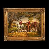 181 Oil painting on canvas English fox hunting scene