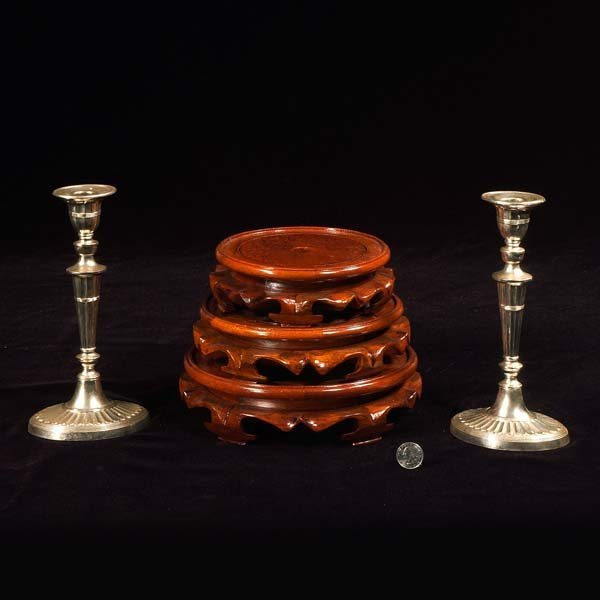 428: Pair of silver plated candlesticks and a group of