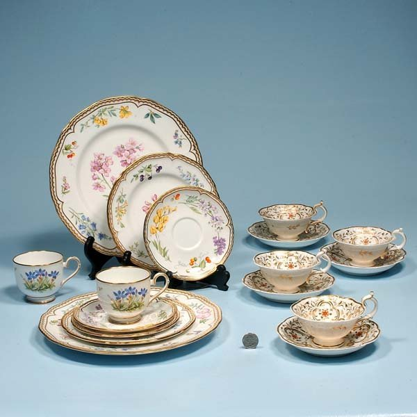 431: Group of four Davenport china cups and saucers wit