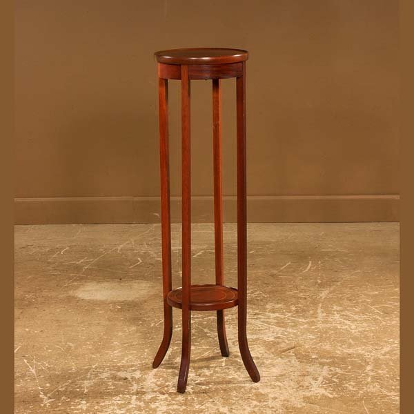 "432: Inlaid Sheraton style mahogany plant stand , 12"" w"
