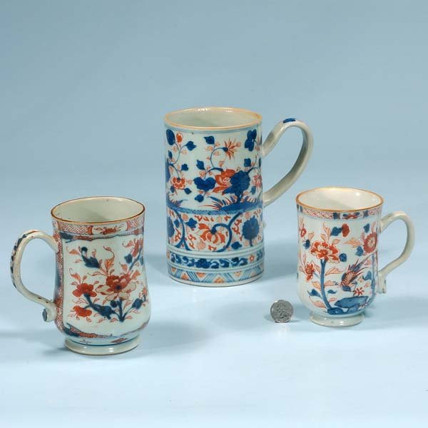 440: Group of three Chinese porcelain mugs, c.1860