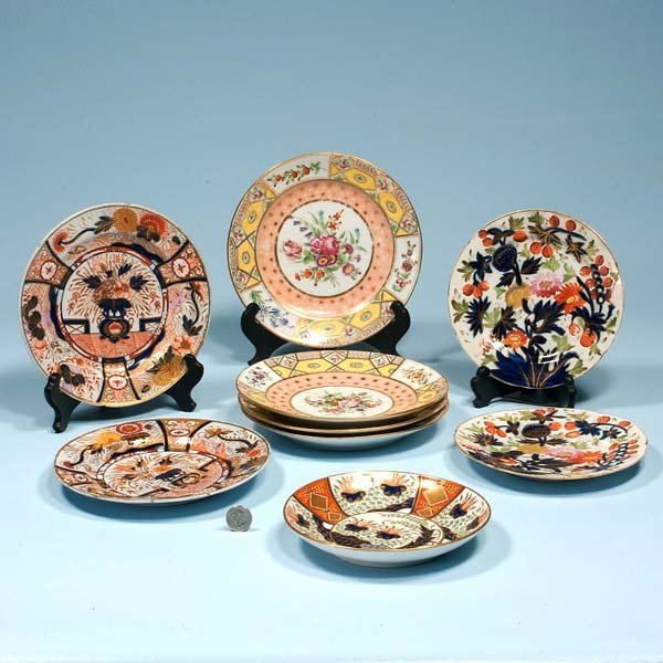 449: Group of five porcelain plates and a group of four
