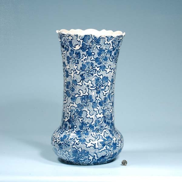 1: Large blue and white English umbrella jar with flora